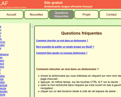 Capture du site web