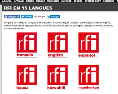 Capture d\'écran de la page des langues disponibles sur https://www.rfi.fr/ le jour de publication